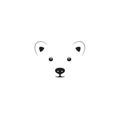 Little bear head designed using outline graphic vector.