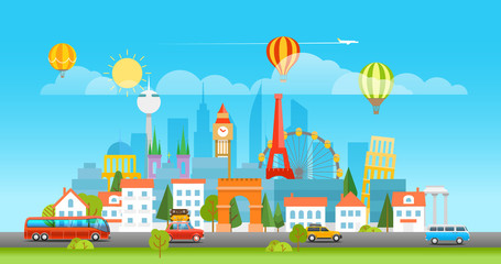 Dirrefent world famous sights. Modern cityscape Vector travel il