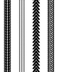 Black prints of tire cars, vector illustration, seamless pattern