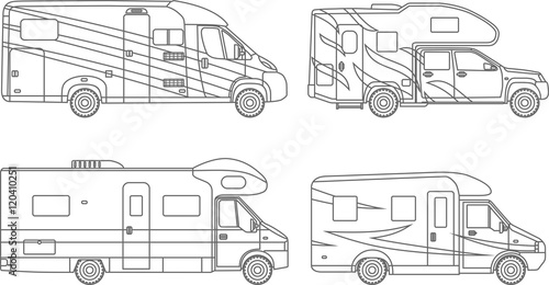 Coloring Pages Set Of Diffe Silhouettes Car Travel Trailers Flat Linear Icons Isolated On