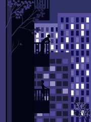 A man and a woman on different floors of a multistory building. Lights of the city at night.