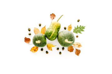 autumn fall flat lay, top view arrangement. pumpkin, leaves on white background, flat lay, top view