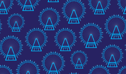 Vector seamless background of a Ferris wheel