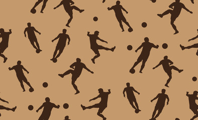 Vector seamless pattern of soccer players. The texture of the football players is randomly located