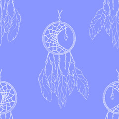 Ethnic hand made feather dream catcher seamless pattern vector