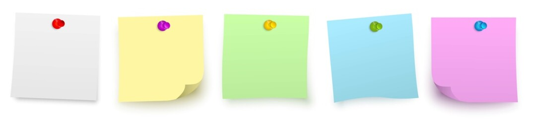 row of colorful sticky vector notes with pins / Reihe bunter vektor klebezettel mit stecknadel