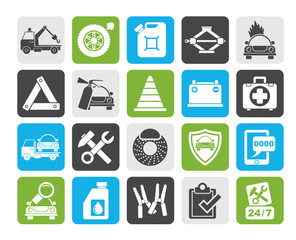 Silhouette Roadside Assistance and tow  icons  - vector icon set