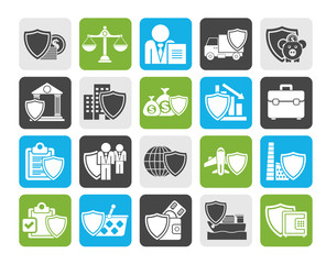 Silhouette Business and industrial insurance icons  - vector icon set