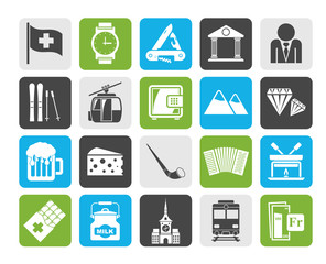 Silhouette Switzerland industry and culture icons  - vector icon set