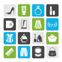 Silhouette Female accessories and clothes icons- vector icon set