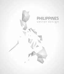 Philippines mosaic grey triangle perspective map