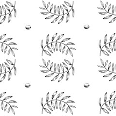 Seamless vector pattern with olive branch.