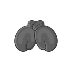 Boxing gloves icon in black monochrome style isolated on white background. Sport symbol vector illustration