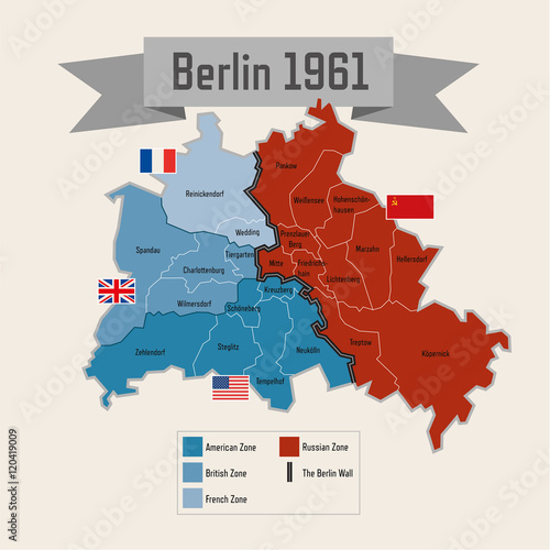 Map Of Germany During Cold War.Berlin Germany Cold War Division With Zones Stock Image And Royalty