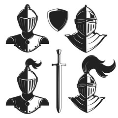 Set of knights helmets isolated on white background. Knight's sw