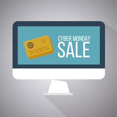 cyber monday illustration, credit card over screen computer