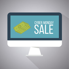 cyber monday illustration,money over screen computer