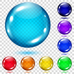 Set of transparent colored spheres. Transparency only in vector file