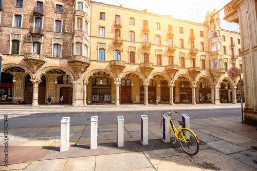 Central Street With Beautiful Buildings In Turin City In Piedmont Region In Italy Stock Photo