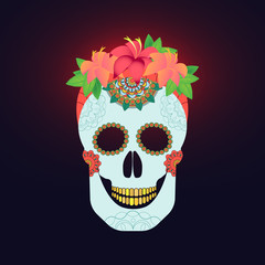 Traditional mexican catrina skull with paint decoration and colorful spring time flower arrangement on hair