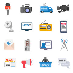 mass media icons set. broadcast media collection. flat design