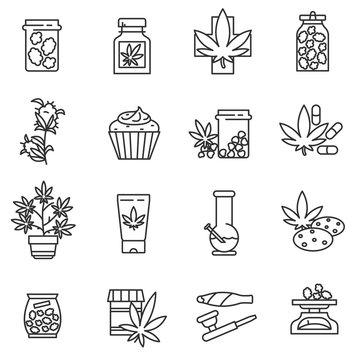 medical marijuana icons set. cannabis collection. Thin line design