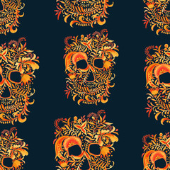skull background with ornament Khokhloma.seamless pattern. watercolor illustration.