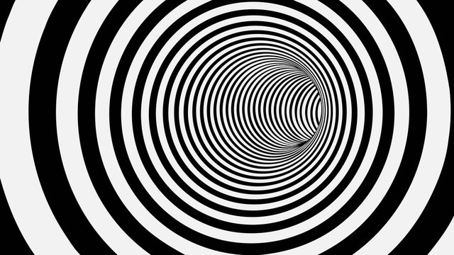 Black and White Circle Striped Abstract Tunnel