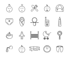 baby 20 icons set, vector