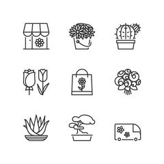 Line icons. Flower shop. Flat symbols