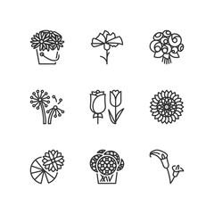 Line icons. Flowers. Flat symbols
