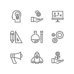 Line icons. Business process. Flat symbols