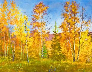 Autumn landscape, oil painting