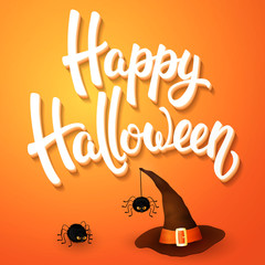 Halloween greeting card with witch hat, angry spiders and 3d brush lettering on orange background. Decoration for poster, banner, flyer design. Vector illustration.