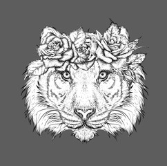 Hand draw portrait of tiger wearing a wreath of flowers. Vector illustration