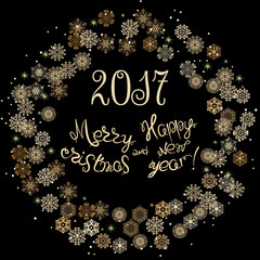 2017 Merry Christmas and Happy New Year hand drawn lettering design, Creative typography background, Can be used as Greeting Card, Poster, Banner