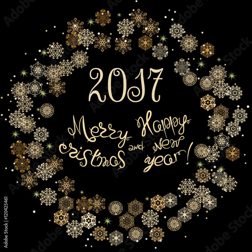2017 Merry Christmas And Happy New Year Hand Drawn Lettering Design