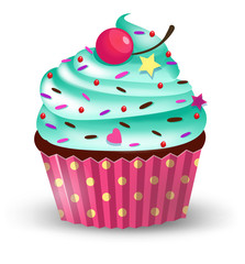Handmade cute cartoon cupcake with cherry. Vector illustration, clip-art, isolated on white background