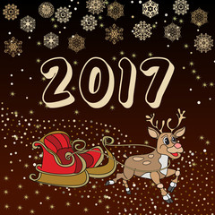 Creative hand drawn doodle style illustration of Cute reindeer and sleigh,  for Merry Christmas and Happy New Year celebration