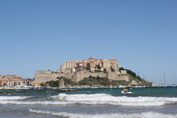 corsica, calvi. a view of old city, harbor, sea and beach