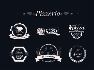 Set of Pizza logos, badges and labels Pizzeria logotypes