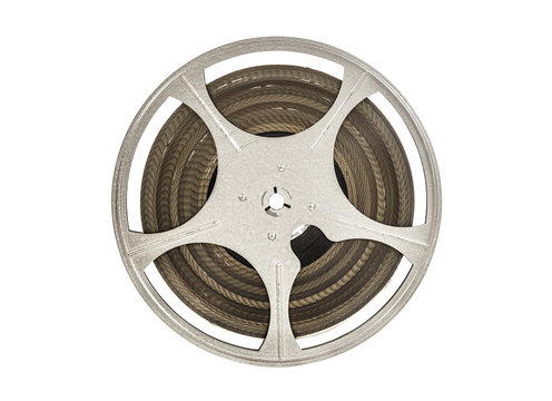 Vintage 8 mm Movie Film Reel Isolated on White