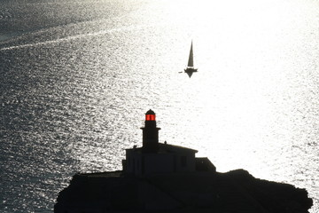 Bonifacio lighthouse at sunset