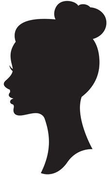 Vector silhouette of a bride with a wedding hairstyle portrait i