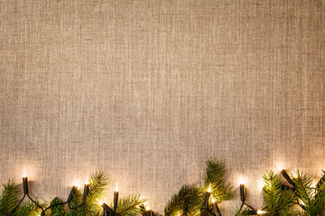 Christmas decoration background over linen cloth.