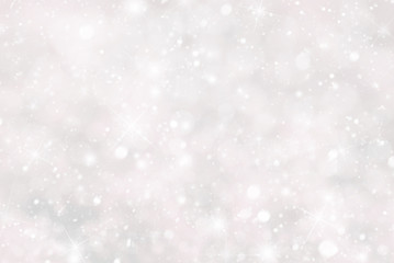 Christmas Background With Snwoflakes, Bokeh And Stars, Pink Color