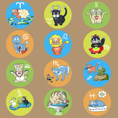 signs of the zodiac in the form of cute cats