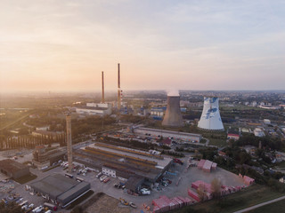 Aerial view of power station near the Krakow, Poland. At sunset time