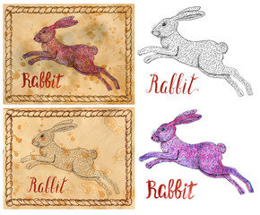 Vintage card with illustration of graphic zodiac animal symbol - rabbit