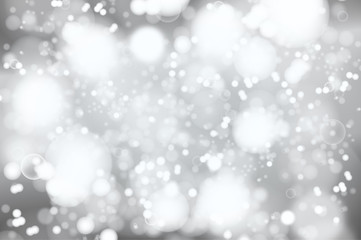 Vector silver bokeh background. abstract defocused bright lights